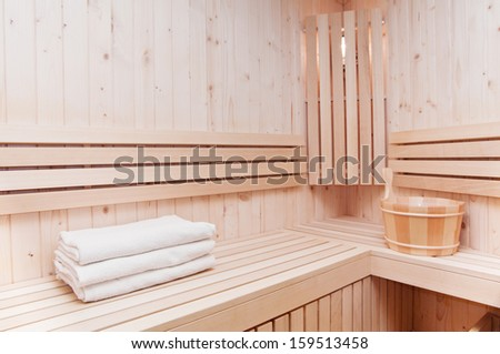 wooden sauna for relaxing moments - stock photo