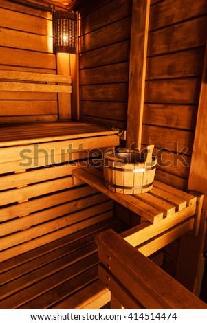 wooden sauna interior  - stock photo