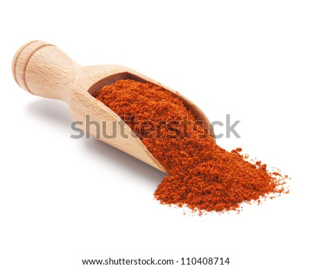 wooden scoop with milled red chili pepper isolated on white - stock photo