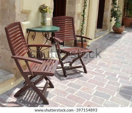 Wooden Seats on Street - Alfresco Dining
