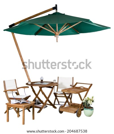 Wooden set of garden furniture under big garden umbrella isolated on white - stock photo