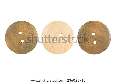 Wooden sewing button collection isolate on white background - stock photo