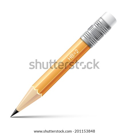 Wooden sharp small pencil  isolated on white background.