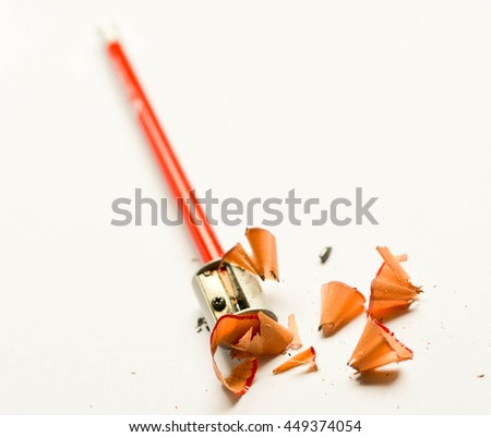 Wooden shavings from sharpening pencil - stock photo