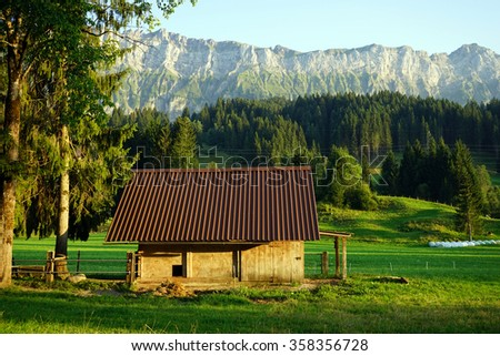 Wooden shed and pasture in rural area of Switzerland - stock photo