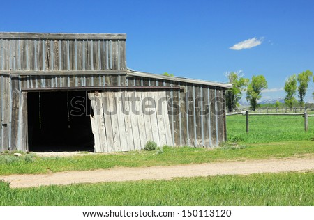 Wooden shed in rural Wyoming, USA. - stock photo