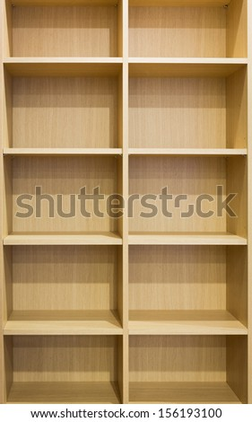 Wooden shelf with empty box