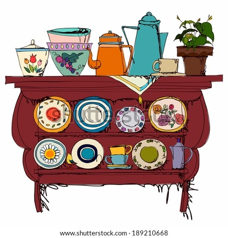 Wooden Shelf With Kitchen Utensil - stock photo