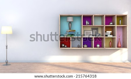 wooden shelf with vases, books and lamp - stock photo