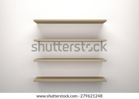 Wooden shelves - stock photo