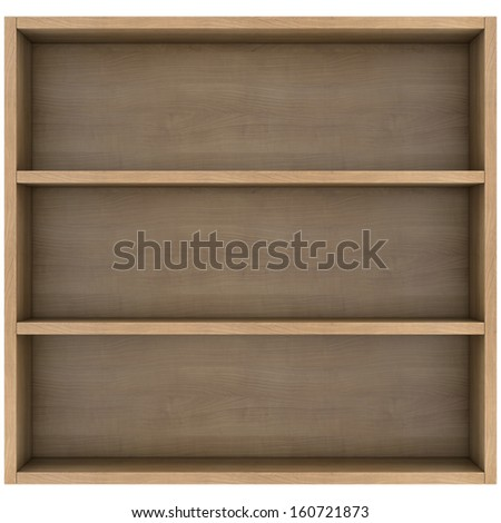 Wooden shelves. 3d render isolated on white background