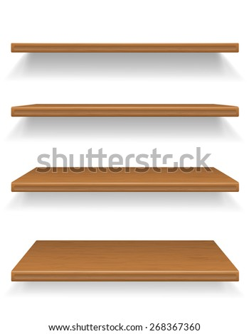 wooden shelves illustration isolated on white background