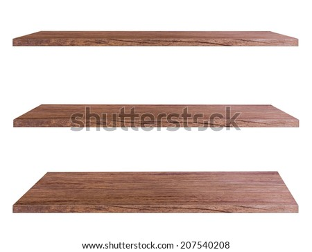 Wooden shelves isolated on white background, Objects with Clipping Paths for design work - stock photo
