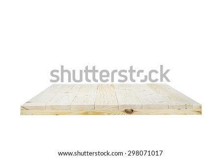 Wooden shelves isolated on white background with clipping paths