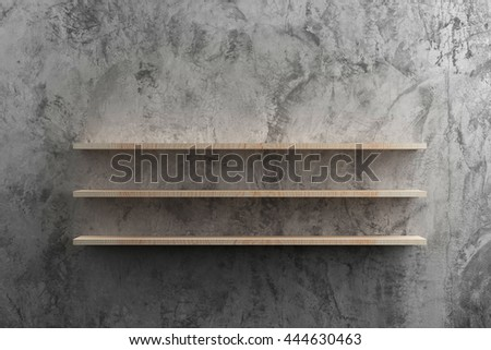 Wooden shelves on raw Cement wall in loft Style wall for background