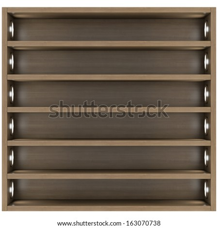 Wooden shelves with built-in lights. Isolated render on a white background