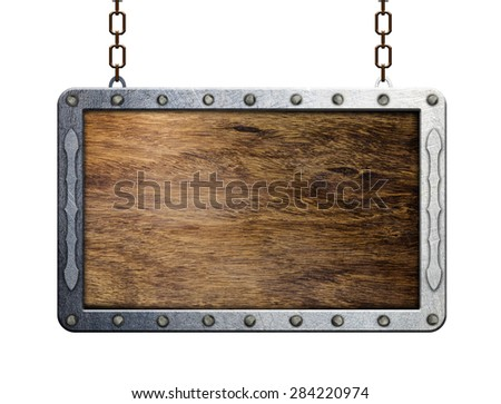 wooden  shield or sign with metal frame - stock photo