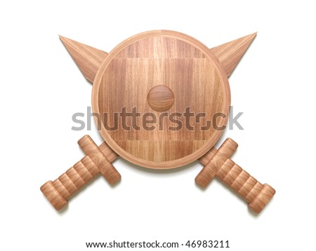 Wooden shield with two swords - stock photo