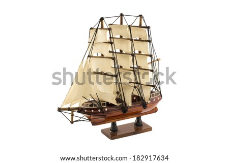 Wooden ship model, isolated on white background - stock photo