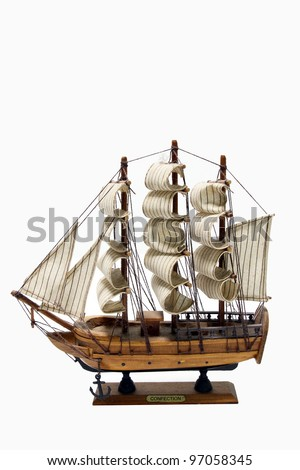 Wooden ship toy model, isolated on white background - stock photo