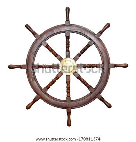 Wooden ship wheel isolated included clipping path - stock photo