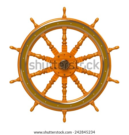 wooden ship wheel isolated on white