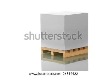 wooden shipping pallet reflected - stock photo