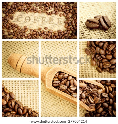 Wooden shovel full of coffee beans against various pictures representing coffee - stock photo