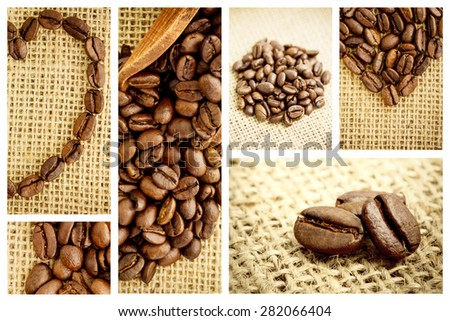 Wooden shovel with coffee beans against heart made from roasted coffee beans - stock photo