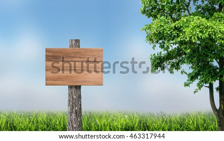 Wooden sign board background in green meadow and blurred sky background.