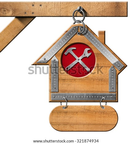 Wooden Sign for Construction Industry / Wooden and metallic sign in the shape of house with a symbol with hammer and wrench. Hanging from a metal chain and isolated on white background - stock photo