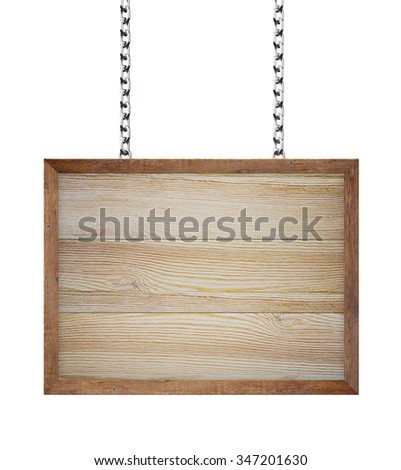 Wooden sign hanging from chains , isolated on white , 3d render - stock photo