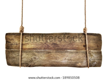 Wooden sign hanging on a rope on white background  - stock photo