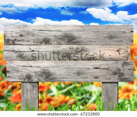 Wooden sign in the park - stock photo