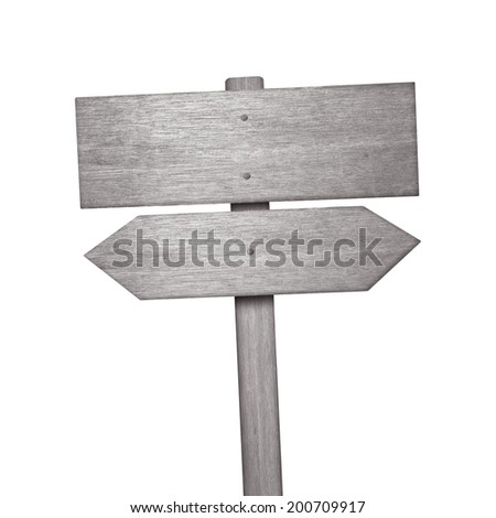 Wooden sign isolated on white