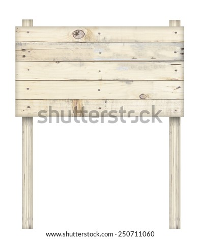 Wooden sign isolated on white - stock photo