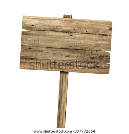 Wooden sign isolated on white. Wood old planks sign - stock photo