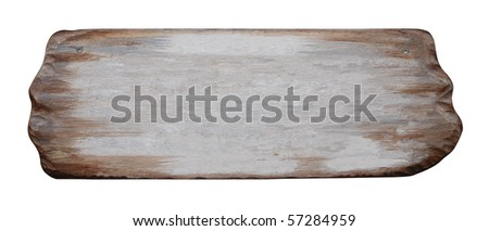 Wooden sign isolated with clipping path on white background
