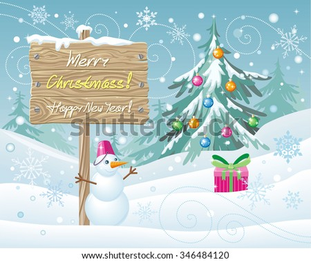 Wooden sign Merry Christmas and Happy New Year.  Xmas celebration, winter season, greeting message, board and snowflake, snow and landscape, snowfall and nature illustration. Raster version - stock photo