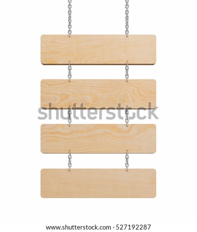 Wooden sign on a chain isolated on White Background. This has clipping path. illustration 3d rendering