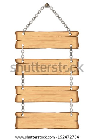 wooden sign on the chains. Rasterized illustration.