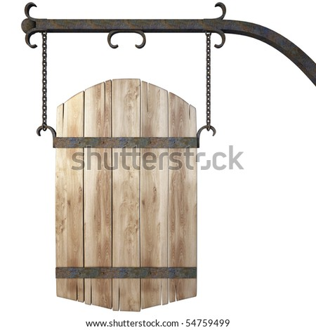 wooden sign on the chains. with clipping path. - stock photo