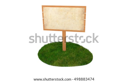wooden sign on the green grass isle 3D illustration