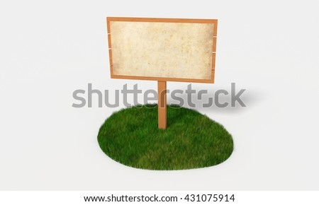 wooden sign on the green isle 3D illustration