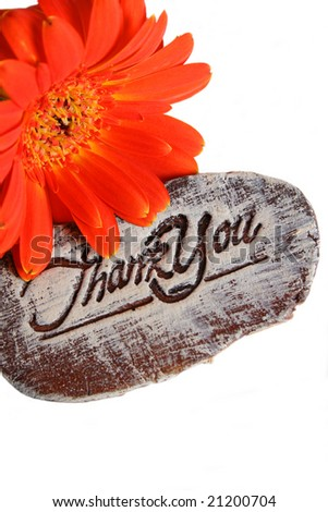Wooden sign saying Thank You and a flower - stock photo