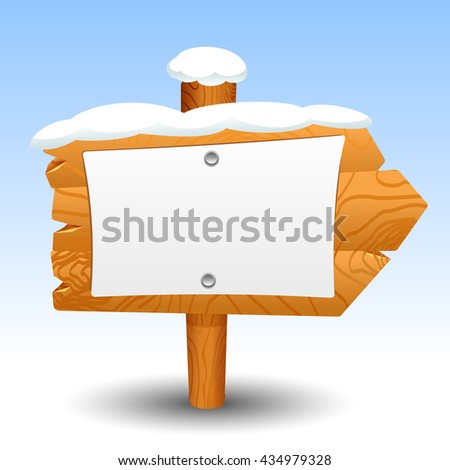 Wooden sign snow post icon symbol label set - stock photo