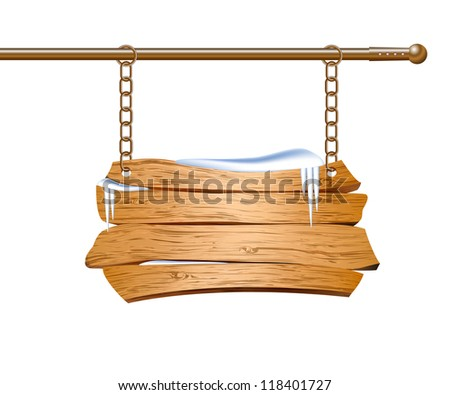 Wooden sign suspended on chains.
