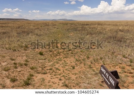 Wooden sign to Santa Fe Trail - stock photo