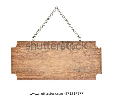 wooden sign with chain isolated on white background