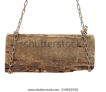 Wooden sign with chain on white background - stock photo